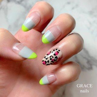 . . ネイチャー♡ . 注目されている サステナブルを意識して 南国リゾート、ジャングル ネオンカラーで再現 ハッピー漂うネイルにしてみましたよ ネオンカラー可愛すぎて悶絶🥰🥰 私のネイル . be inspired by moschino . #gracenails #nail #nails #nailart #moschino #bijoux #springnails #summernails #ネイル #ジェルネイル #ネイルアート #春ネイル #夏ネイル #モスキーノ #カラフルネイル #マルチカラー #レオパードネイル #豹柄ネイル #サステナブル #上本町ネイル #上本町 #谷町9丁目ネイル #谷町9丁目 #美甲 #夏 #旅行 #リゾート #ハンド #アニマル柄 #トロピカル #バイカラー #レオパード #ミディアム #イエロー #グリーン #グレー #ジェル #セルフネイル #grace_nails_ #ネイルブック