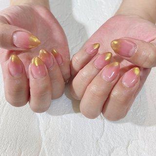#グラデーション #ミラー #ピンク #ゴールド #nail coodination brooch #ネイルブック