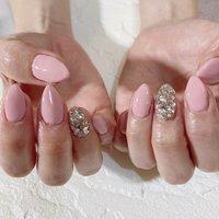 #ハンド #シンプル #ビジュー #ロング #ピンク #ジェル #お客様 #nail coodination brooch #ネイルブック