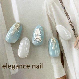 #ジェルネイル #ブルー #ニュアンス #ホワイト #ハンド #ジェル #elegance7 #ネイルブック
