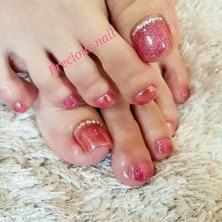#夏 #フット #ワンカラー #ラメ #ミラー #ピンク #precious_nail315 #ネイルブック