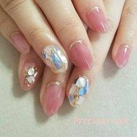 #夏 #ハンド #ラメ #ワンカラー #シェル #ピンク #precious_nail315 #ネイルブック