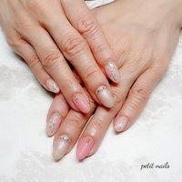 #ハンド #大理石 #ホワイト #ベージュ #ピンク #ジェル #お客様 #petit_nails -プチネイルズ- #ネイルブック
