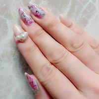 #ハンド #マーブル #ピンク #水色 #ゴールド #ジェル #petit_nails -プチネイルズ- #ネイルブック