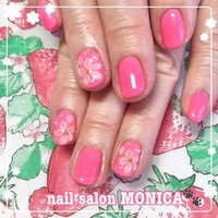 ピンクカラーとお花がかわいいネイル💅 #エンボスアート #春 #オールシーズン #フラワー #3D #ピンク #nail salon MONICA 🐾 #ネイルブック