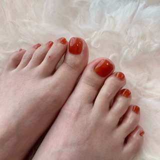 #オレンジ #フットネイル #フット #ワンカラー#夏 #夏ネイル #夏 #オールシーズン #フット #シンプル #ワンカラー #ショート #オレンジ #ジェル #お客様 #rosita nail #ネイルブック