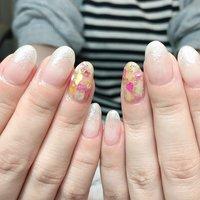 #夏 #ハンド #シェル #ミディアム #ホワイト #ジェル #お客様 #CONO nails #ネイルブック