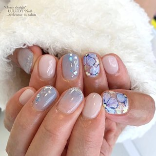 #紫陽花ネイル #夏 #梅雨 #七夕 #浴衣 #フラワー #ピンク #ブルー #パープル #luludynail #ネイルブック