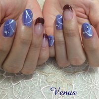 紫のグラデが綺麗です。浴衣にも似合うデザインです。 #浴衣 #ハンド #フレンチ #ミディアム #パープル #ジェル #お客様 #nailsalon_venus #ネイルブック