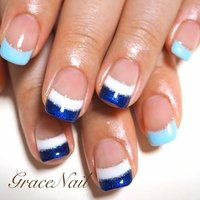 #Nailbook #夏 #ハンド #フレンチ #ショート #ブルー #ジェル #お客様 #GraceNail #ネイルブック