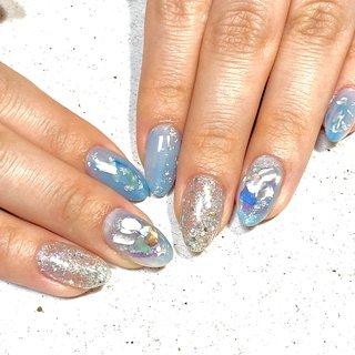#ジェルネイル#お客さまネイル #夏ネイル#梅雨 #ブルーネイル #azul nail #ネイルブック