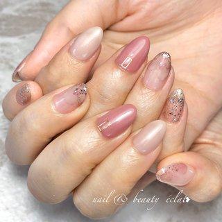 #ピンクネイル#くすみピンク#ニュアンスネイル #nail & beauty éclat❥ #ネイルブック