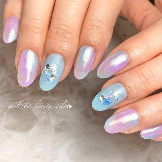 #ブルーネイル#紫ネイル#オーロラミラー #nail & beauty éclat❥ #ネイルブック
