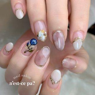 青いお花の中に「y」を潜ませて♡  持ち込み画像を参考にさせていただきました!  #nail #nails #naildesign #nailsalon #jelnail #japan #instanail #fashion #nailart #summernails #springnails #ネイル #ネイリスト #ネイルデザイン #ネイルサロン #ジェルネイル #夏ネイル #春ネイル #ネセパネイル #さいたま市ネイルサロン #東浦和ネイルサロン #さいたま市ネイルスクール #東浦和ネイルスクール #夏 #オールシーズン #フラワー #シェル #イニシャル #ニュアンス #ベージュ #ゴールド #ジェル #お客様 #ネセパネイル salon&school #ネイルブック