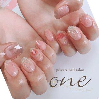 #夏#うねうねね #夏 #オールシーズン #ミラー #ワイヤー #クリア #ピンク #グレージュ #ジェル #private nail salon one #ネイルブック