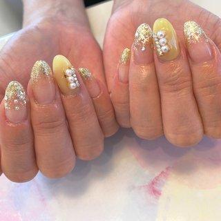 #ハンド #イエロー #grandier nail&eyelash salon #ネイルブック