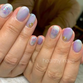 #人気デザイン #夏 #梅雨 #ショート #healthy nails #ネイルブック