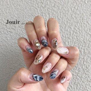 #ハンド #ラメ #ビジュー #シェル #ニュアンス #ワイヤー #ネイビー #グレージュ #ゴールド #Jouir for beauty - hair nail eyelash- #ネイルブック