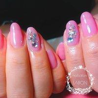 # ピンクネイル#ピンクカラー#ストーンアート#キラキラ#可愛いネイル     いつもありがとうございます♥ #オールシーズン #ハンド #シンプル #ホログラム #ワンカラー #ミディアム #ピンク #ジェル #Miho #ネイルブック