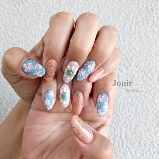 #ハンド #フラワー #アンティーク #ボヘミアン #ボタニカル #ピンク #オレンジ #水色 #Jouir for beauty - hair nail eyelash- #ネイルブック