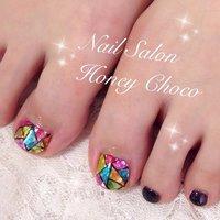 #Nailbook #夏 #フット #ステンドグラス #ブラック #Nail Salon&school Honey Choco #ネイルブック
