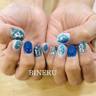 夏のブルーネイル🌻✨綺麗なブルーで涼しげです✨ #夏ネイル #ブルーネイル #銀箔 #BINERU beauty #静岡ネイルサロン #BINERU beauty #ネイルブック