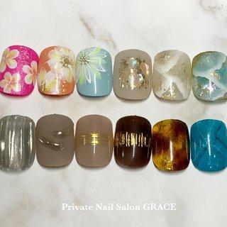 #親指アート #夏 #フット #フラワー #大理石 #ニュアンス #べっ甲 #ミラー #private nail salon GRACE #ネイルブック