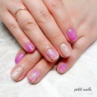 #ハンド #大理石 #ベージュ #ピンク #ジェル #お客様 #petit_nails -プチネイルズ- #ネイルブック