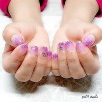 #ハンド #グラデーション #ラメ #ピンク #パープル #ジェル #お客様 #petit_nails -プチネイルズ- #ネイルブック