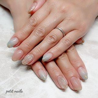 #ハンド #グラデーション #3D #ピンク #グレー #ジェル #お客様 #petit_nails -プチネイルズ- #ネイルブック