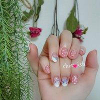 #ドット と #お花 🌼 キュートな指先でニヤニヤです🍀😌🍀 #ハンド #フレンチ #フラワー #ドット #ホワイト #ピンク #ちぇりぶう #ネイルブック