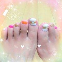 #Nailbook #夏 #フット #シェル #ショート #ジェル #セルフネイル #Megumi Tanaka #ネイルブック