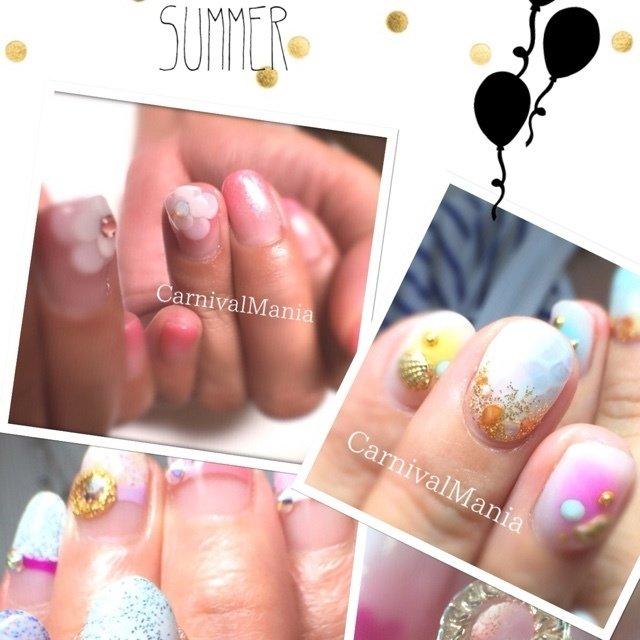 #Nailbook #夏 #ハンド #フラワー #ミディアム #ピンク #ジェル #お客様 #shokokakuda #ネイルブック