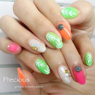 . . colorful🌿nails . . 夏はもうすぐ \(*ˊᗜˋ*)/🌺🌴🏖 . . . Precious 048-915-5205 . #Precious#privatebeautysaron#越谷ネイルPrecious#定額制#ネイルサロン#越谷#新越谷Precious#夏ネイル#カラフルネイル#サマーネイル2020#koshigaya#saitama#nail#NAIL#cute#follow me#follow#japan nails#japan#summer nails#リーフネイル#colorful nails #Precious 〜プレシャス〜 #ネイルブック