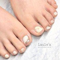#大理石#ニュアンス#foot#フットネイル#foot nail#ホワイト#アイボリー#ミラーアート #フット #大理石 #ホワイト #ベージュ #nail room Laule'a_eri #ネイルブック