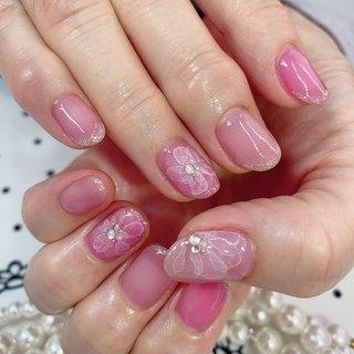 #ピンクネイル #ピンク #ピンクネイルデザイン #たらしこみネイル #たらしこみフラワー #たらしこみ #春 #夏 #ハンド #たらしこみ #ホワイト #ピンク #ジェル #お客様 #さおり #ネイルブック