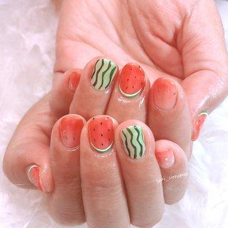 スイカ🍉😋  とってもかわいいです💕ありがとうございました✨   #ネイル #ジェルネイル #ネイルアート #nail #nails #nailart #gelnail #福岡ネイル #福岡ネイルサロン #大牟田ネイル #美甲 #スイカネイル #夏 #シンプル #グラデーション #ラメ #フルーツ #レッド #グリーン #saki_cinnamon #ネイルブック