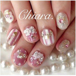*   pinknails 💍♡     Instagram → yochan4.nail #春 #夏 #オールシーズン #女子会 #フラワー #ハート #ストライプ #3D #ドット #ピンク #YokoShikata♡キアラ #ネイルブック
