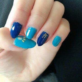 #ブルー#ブルーネイル#水色#ターコイズブルー #ハンド #ターコイズ #水色 #ブルー #さわこ #ネイルブック