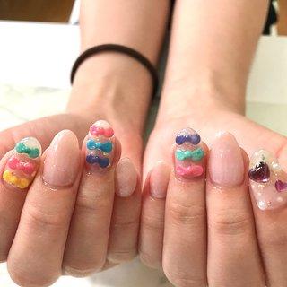 リピーターのお客様  お持ち込みデザイン参考に  #リボン#ハート#ピンク #春 #夏 #ワンカラー #ハート #3D #ピンク #NAIL salon kapalili #ネイルブック