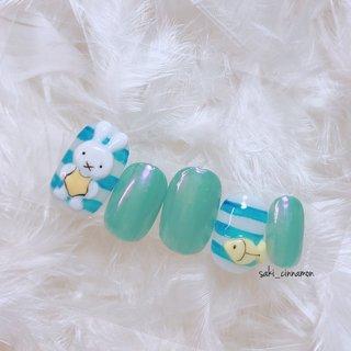 くすみブルー🏝🐠💙   #ネイル #ジェルネイル #ネイルアート #nail #nails #nailart #gelnail #福岡ネイル #福岡ネイルサロン #大牟田ネイル #美甲 #くすみブルー #ミッフィーネイル #夏 #海 #キャラクター #3D #オーロラ #ホワイト #水色 #ブルー #saki_cinnamon #ネイルブック
