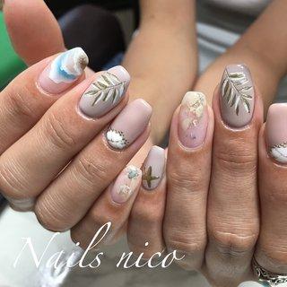 #夏ネイル #ボタニカル #波ネイル #水戸市ネイル&スクール Nails nico #ネイルブック