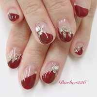 #red #フレンチ #リーフネイル #silver #Barber226_nail #ネイルブック