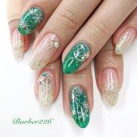 #ラメグラ #グリーン #シルバー #ホワイトラメ #Barber226_nail #ネイルブック
