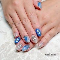 #ハンド #ホワイト #ブルー #シルバー #ジェル #お客様 #petit_nails -プチネイルズ- #ネイルブック