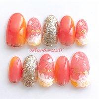 #フルーツネイル #フルーツ #夏 #オレンジ #ピンク #Barber226_nail #ネイルブック