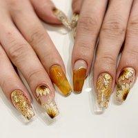 #ひまわりネイル #スカルプチュア #Tiara nail #ネイルブック