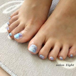 #夏 #梅雨 #海 #リゾート #フット #シンプル #ワンカラー #水滴 #3D #ミラー #ホワイト #水色 #ブルー #お客様 #salon Eight #ネイルブック