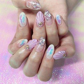 #人魚の鱗ネイル 🧜♀️🐚🐚 #渋谷Beau're nail #ネイルブック