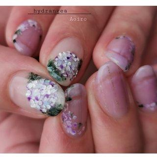 紫陽花  #大人可愛いネイル #手描きネイル #紫陽花ネイル #夏ネイル#梅雨 #nailspaceaoiro #ネイルブック